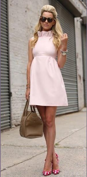 dress pink dress ruffle light pink mini dress brown bag pink shoes pink heels ruffle dress pink ruffle aline derbies light pink rose pink/blush