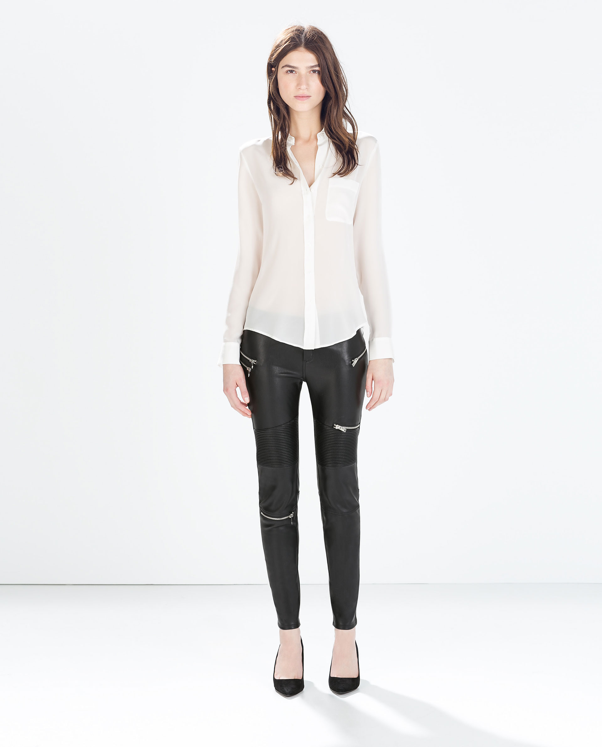 huge discount purchase cheap in stock FAUX LEATHER BIKER TROUSERS WITH ZIPS - Trousers - WOMAN ...