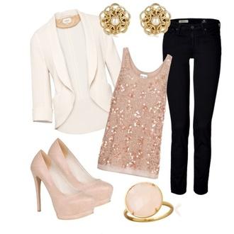 jacket cream blazer sequin top blush shirt jewels coat