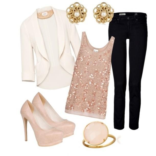 Jacket Cream Blazer Sequin Top Blush Shirt Jewels Coat Wheretoget
