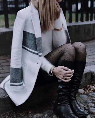 coat tumblr white coat stripes sweater white sweater fluffy fuzzy sweater gold watch watch bracelets gold bracelet tights polka dots boots flat boots knee high boots ring gold ring polka dot tights