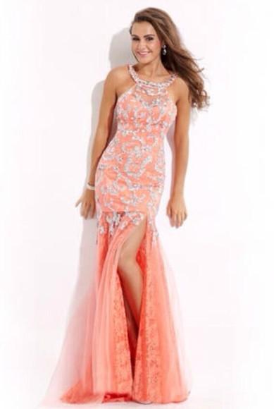 prom dress lace dress pink dress glitter dress dress coral
