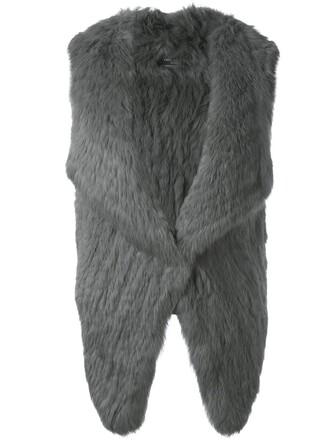 jacket fur jacket sleeveless open fur grey