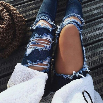 jeans ripped jeans blue denim girly summer
