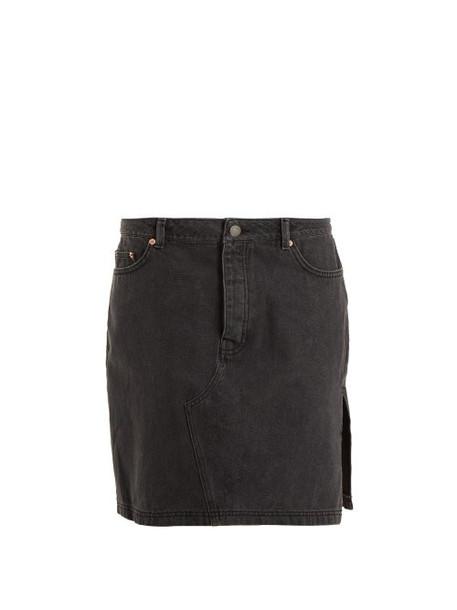 Raey - Side Split Denim Skirt - Womens - Black