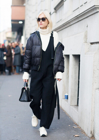 jacket tumblr black jacket puffer jacket down jacket pants black pants overalls dungarees black overalls sneakers white sneakers turtleneck turtleneck sweater white sweater sweater bag black bag sunglasses streetstyle fashion week 2017 gender neutral androgynous no gender