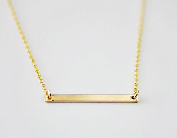 Gold Bar necklace  minimal modern line necklace  simple by edor