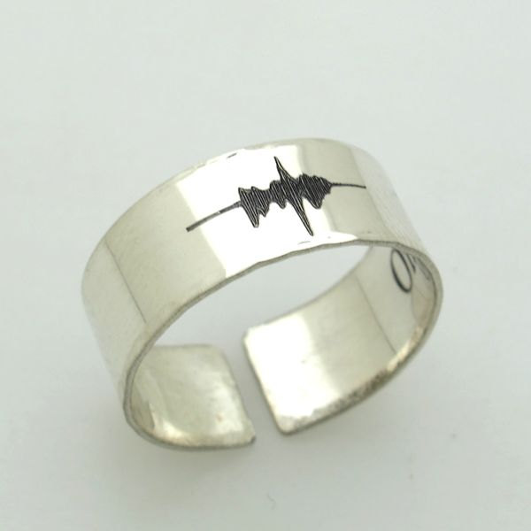 Soundwave engraved rings