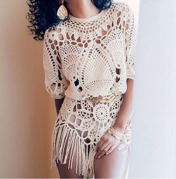 kaftan beach beach dress top crochet