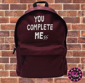 bag backpack you complete mess burgundy
