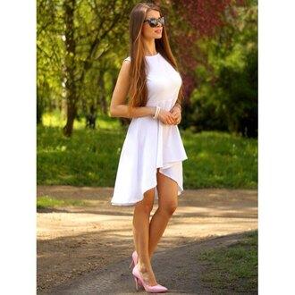 dress white fashion summer asymmetrical style spring beautiful rosewholesale.com