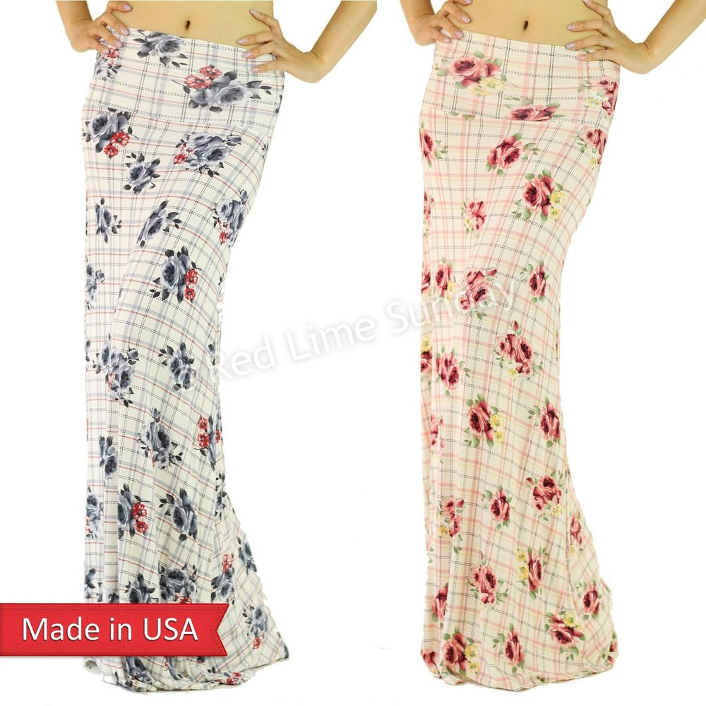 Retro Chic Color Floral Flower Bouquet Check Fold Over Rayon Long Maxi Skirt USA