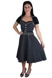 dress,rockabilly dress,polka dot dress,black bolero,polka dot dress with a bolero,holiday party dress,vintage inspired dress,skelapparel