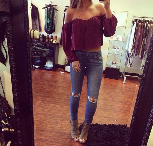 top shirt strapless top maroon shirt blouse burgundy top off the shoulder