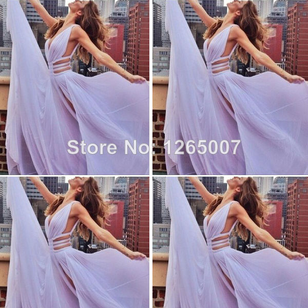 Aliexpress.com : Buy Deep V Neck Ruffles Cut Out Side Purple Long Prom Dresses 2014 Lavender Fashion Special Occasion Dress from Reliable dress cake suppliers on SFBridal
