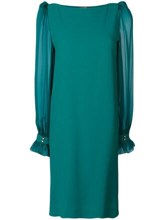 dress sheer women spandex silk green