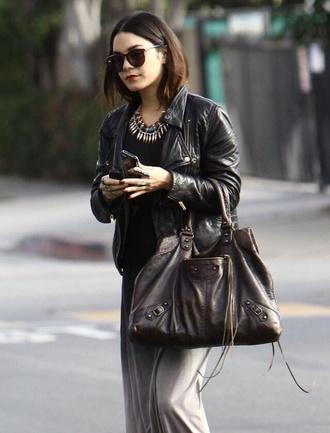 jacket vanessa hudgens leather jacket sunglasses jewels dress