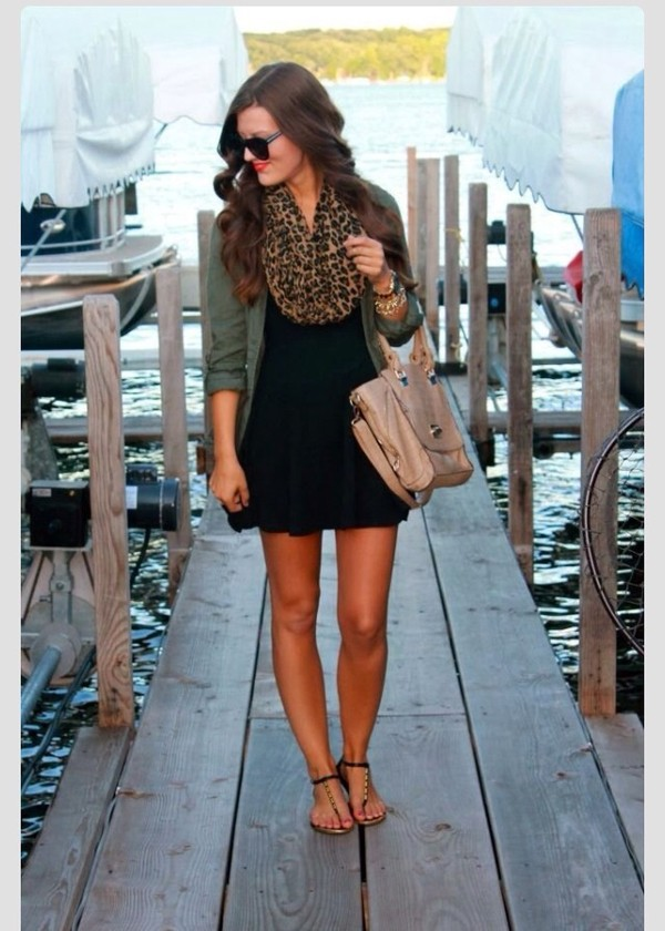 dress little black dress army green jacket lepard print jacket scarf shoes