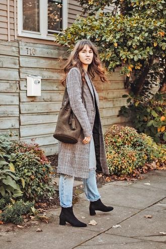 coat tumblr grey coat plaid plaid coat bag suede bag denim jeans blue jeans boots black boots