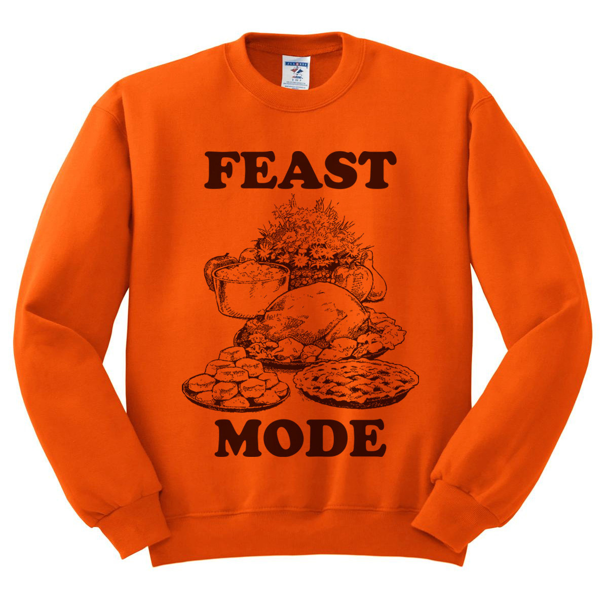 quality design 95625 60200 Orange Crewneck Feast Mode Thanksgiving Sweatshirt Sweater Jumper Pullover  Beast Mode