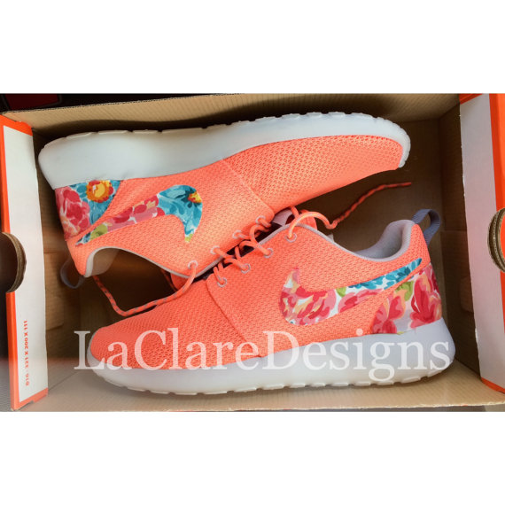 floral nike roshe run atomic pink by laclare designs in machine