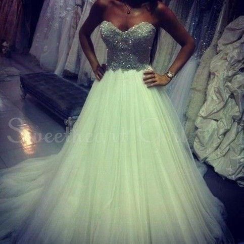 Amazing strapless sequin tulle prom dress, wedding party dress,formal dress