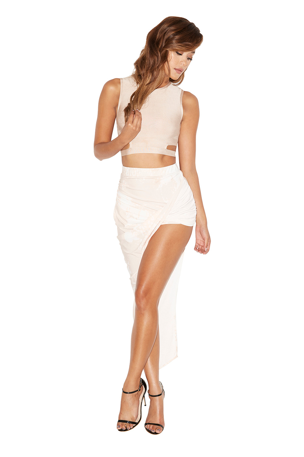 Clothing : 2 Pieces : Angelica Nude and White Bandage