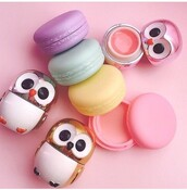make-up,owl,macaron,lip balm,cute,kawaii,girly