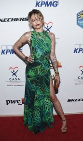 dress,green,green dress,maxi dress,sandals,paris jackson,slit dress