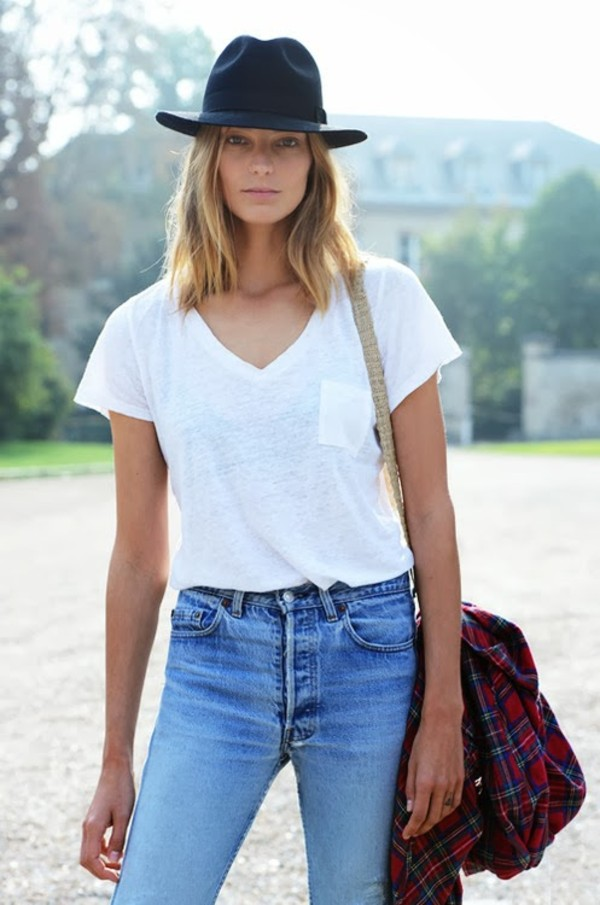 jeans high waisted jeans blue white shirt cowboy hat