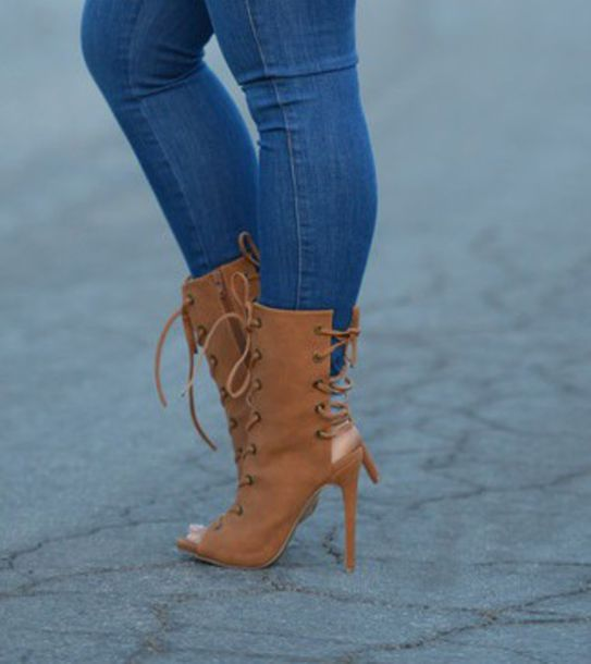shoes booties strappy camel open toes fall boots spring heels heel boots fashion love sexy chunky sole chunky heel lace up lace up boots ankle boots slingbacks brown cute trendy spring 2016 style