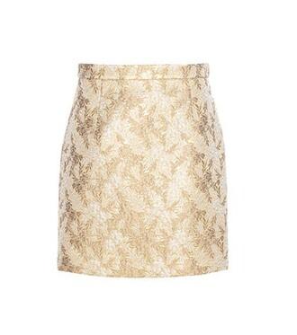 miniskirt metallic jacquard silk wool beige skirt