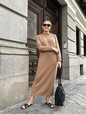 trini,blogger,sunglasses,jewels,sweater,dress,shoes,bag,knitted dress,sweater dress,fall outfits