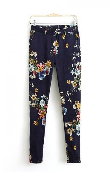 Floral Printing Slim Trousers