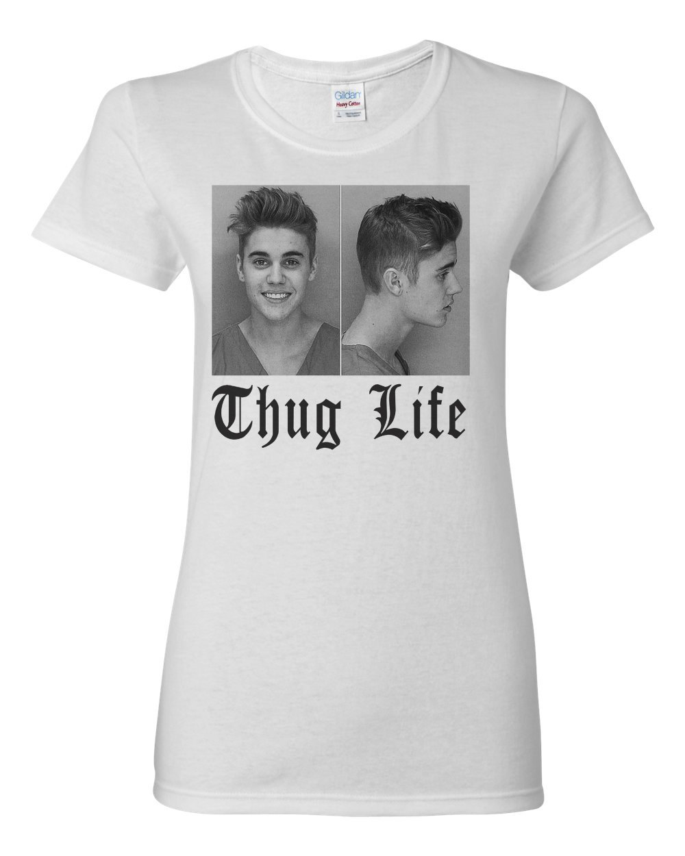 Justin bieber mugshot mug shot funny belieber ladies thug life womens t shirt