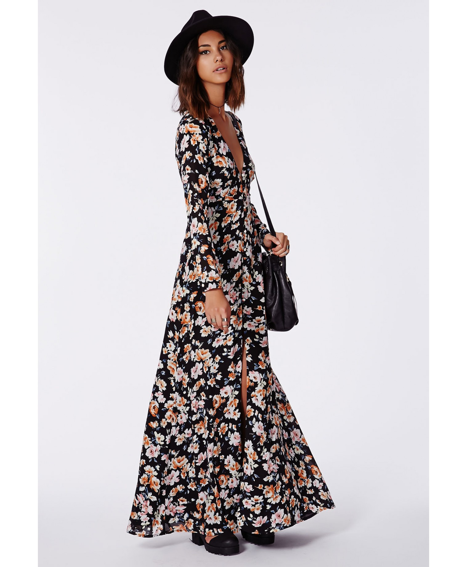 Effie button down maxi dress floral