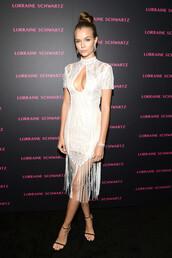 dress,keyhole dress,white,white dress,sandals,josephine skriver,model off-duty,lace dress