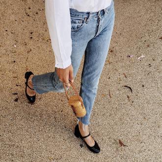 jeans frayed denim cropped jeans mini bag raffia bag mary jane medium heels