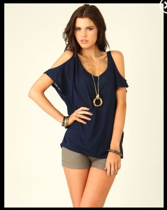 shirt cut-out open shoulder navy cotton long short sleeve scoop neck