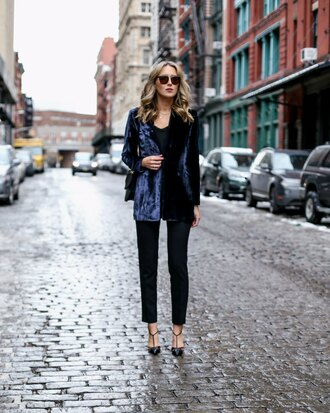 the classy cubicle blogger jacket tank top pants shoes jewels blazer blue jacket high heel pumps pumps tumblr velvet velvet blazer blue blazer black pants top black top necklace jewelry bag black bag