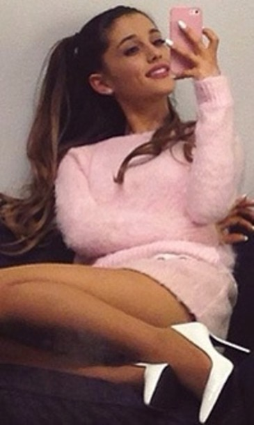 sweater pink sweater fluffy shoes ariana grande white blouse white court heels pink cotton skirt heels outfit ariana grande grande