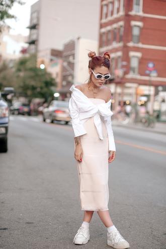 dress tumblr midi dress pink dress white shirt shirt sneakers white sneakers sunglasses shoes