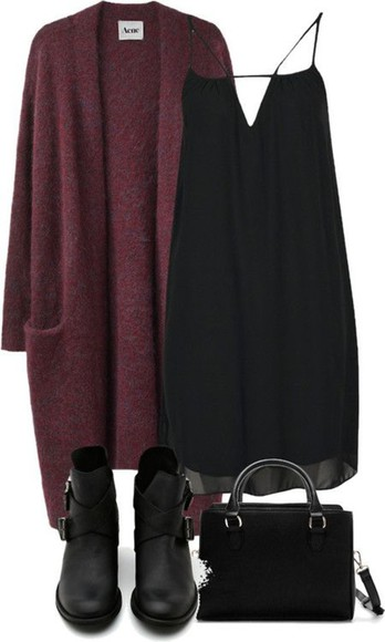hipster hippie boots boho casual little black dress loose dress chiffon dress chiffon bag ankle boots cardigan loose cardigan boho chic bohemian chic softgrunge soft grunge purse burgundy sweater