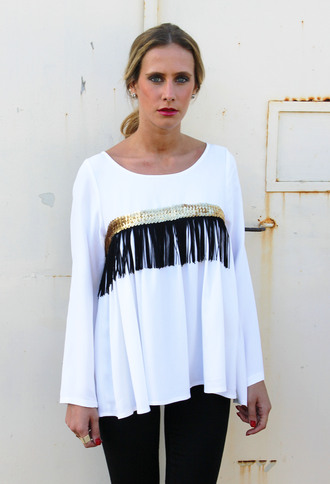 blouse sequins clothes gold sequins sequins top fringes fringed blouse white blouse fall outfits fall sweater fashion spring outfits spring winter outfits girly boho hippie hippie chic bohemian cute cute outfits