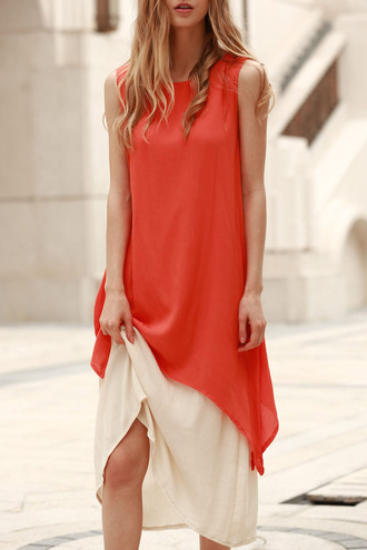 dress dressfo summer outfits trendy style orange casual tumblr