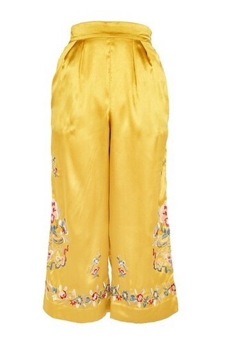 embroidered yellow pants