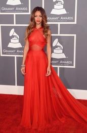 rihanna red dress,dress,rihanna,celebrity style,celebrity,awards,red dress,red prom dress,red long prom dress