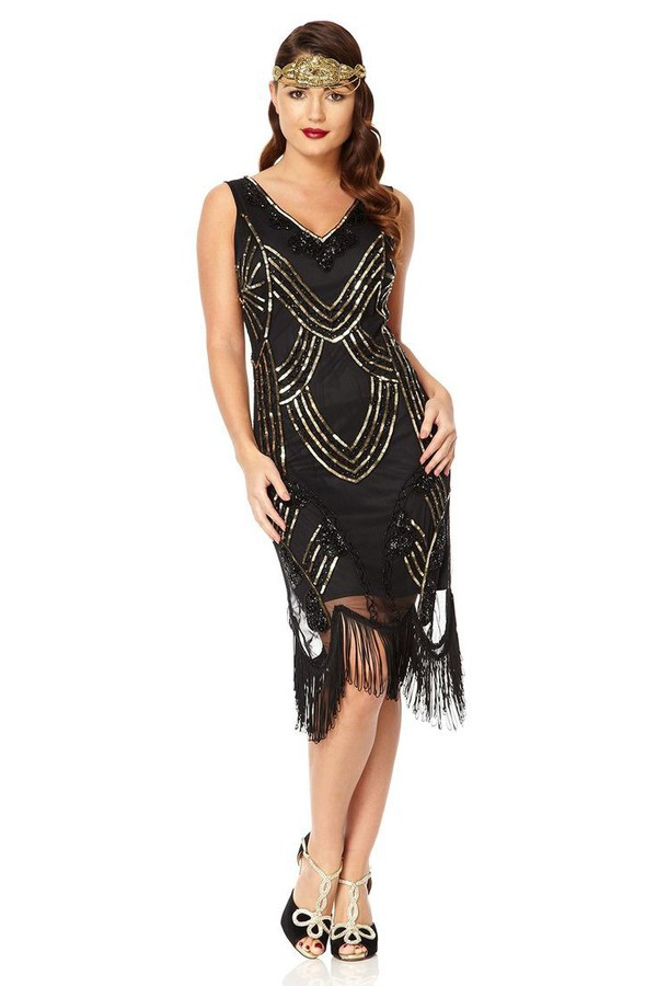 Edith Great Gatsby inspired 1920s Black Gold Flapper Dress