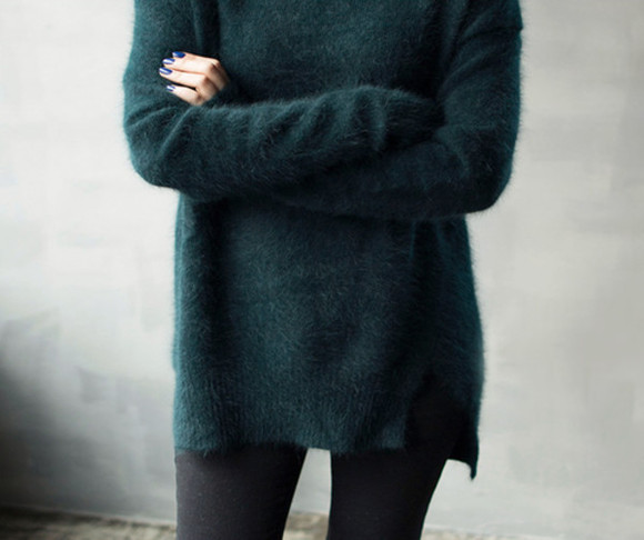 sweater green sweater oversized sweater long fluffy dark green sweater dark green black leggings