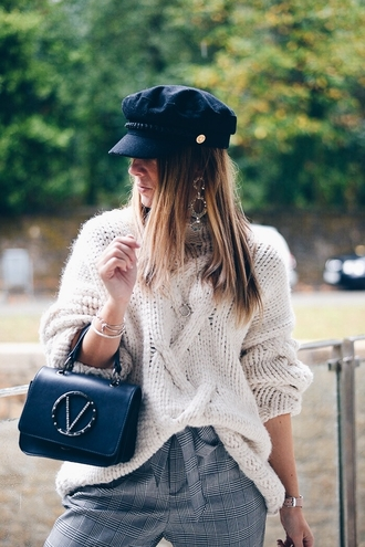 sweater cable knit tumblr knit knitted sweater bag black bag fisherman cap